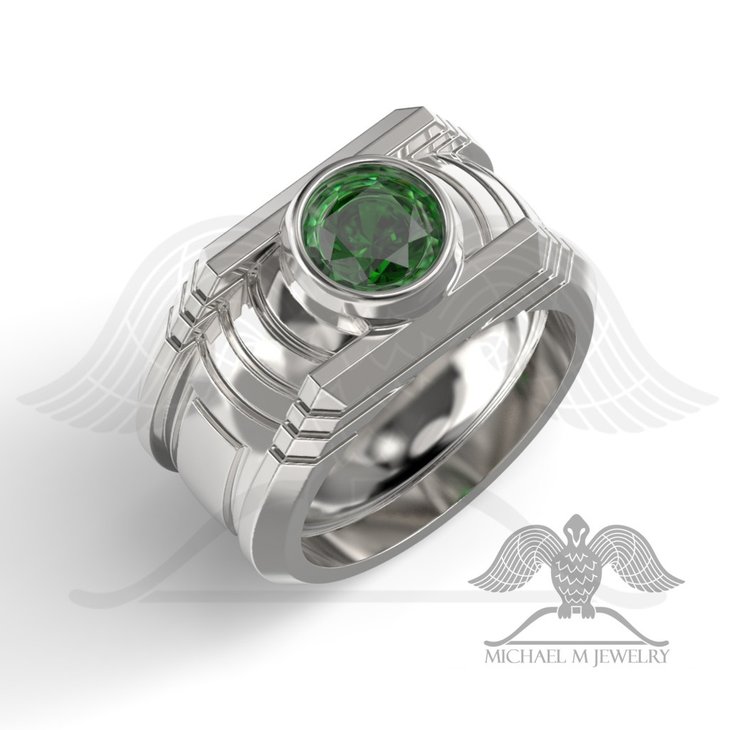 silhouette green shank ring with three pave rings in platinum center oval uneek stone emerald and