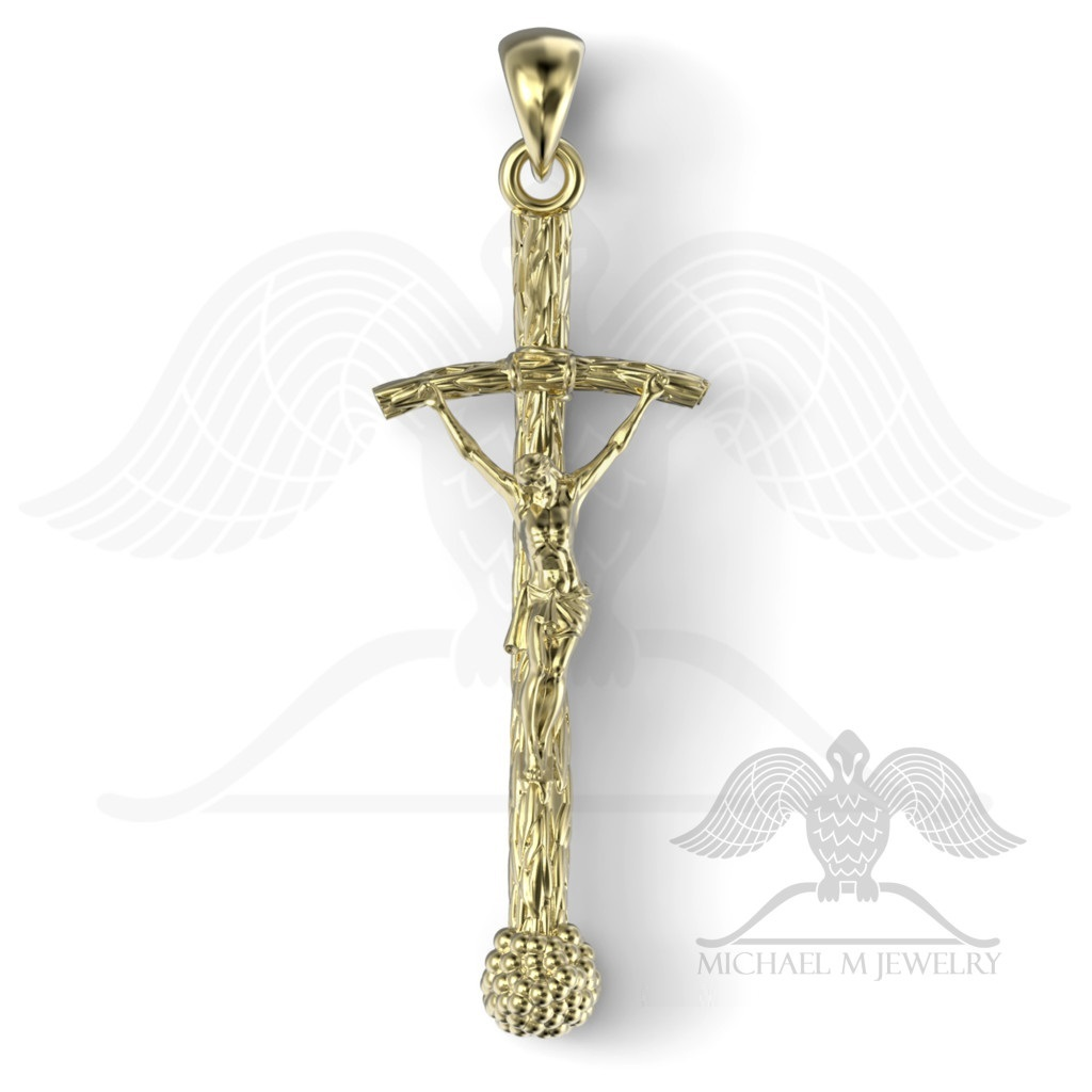 Pope catholic cross pendant 925 sterling silver custommade pope catholic cross pendant mozeypictures Gallery