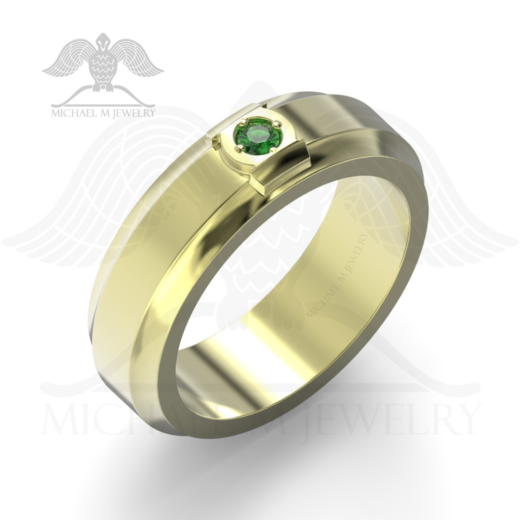 product custommade emerald handmade lantern rings ring made green order band yellow stone to gold