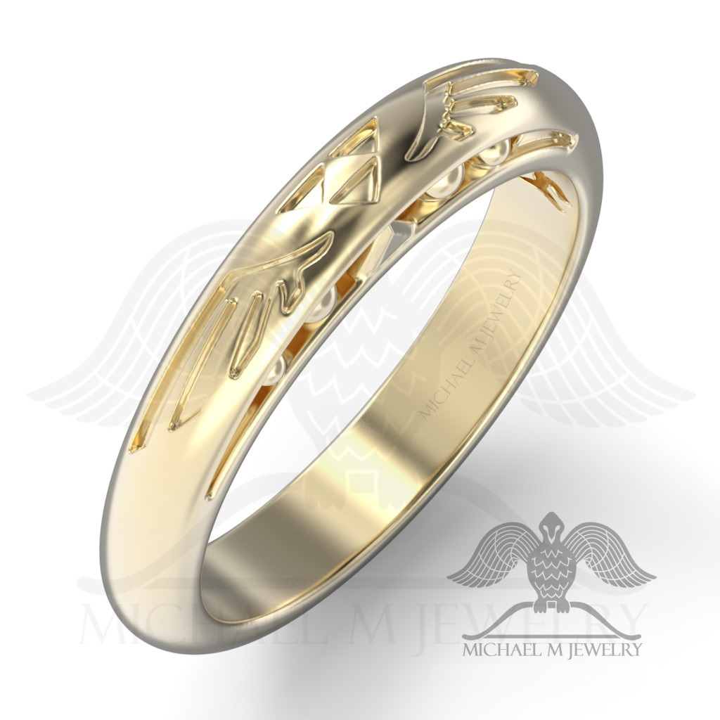 be my zelda wedding band 14k yellow gold or 14k white gold custommade handmade made to order 089 - Zelda Wedding Ring