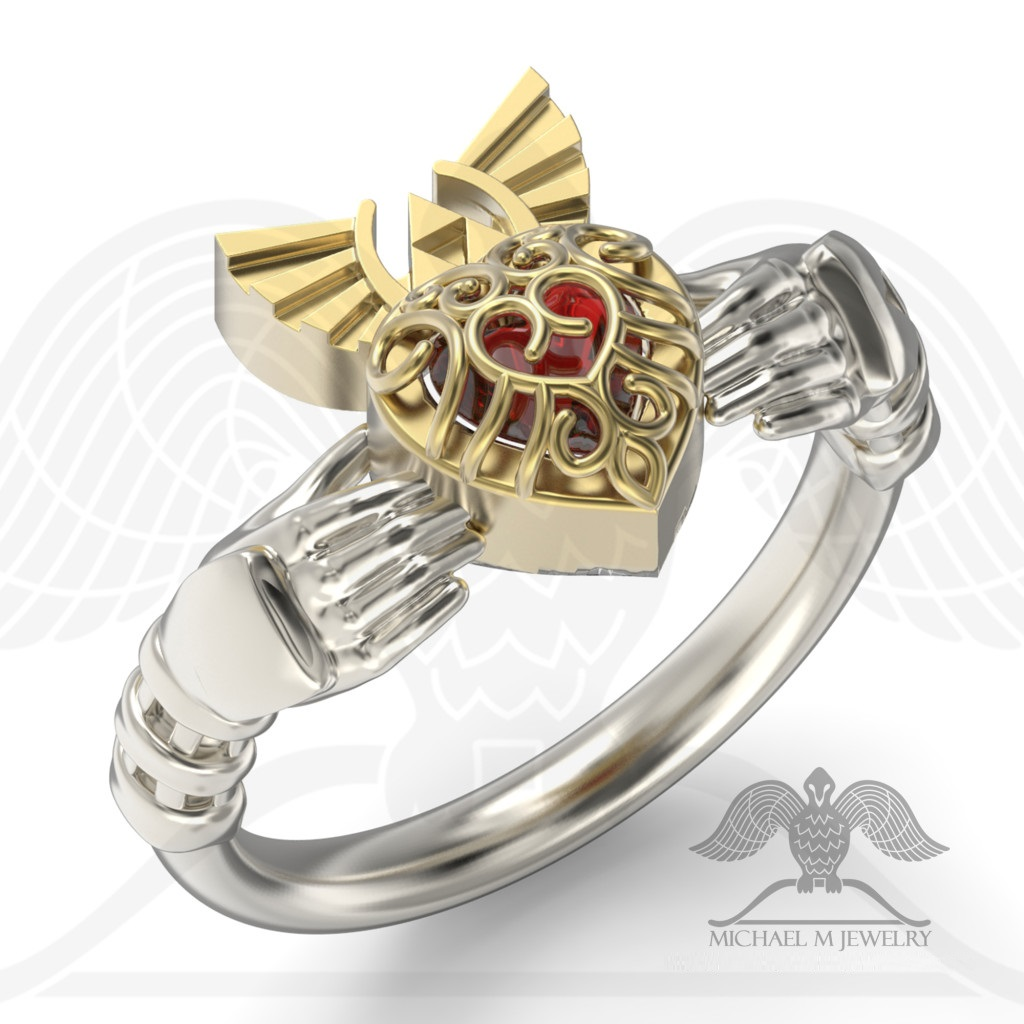 claddagh red heart container ring legend hyrule crest zelda - Zelda Wedding Ring