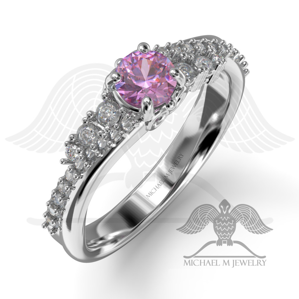 pink engagement ring 925 sterling silver or 14k