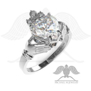 Claddagh! WHITE heart ring