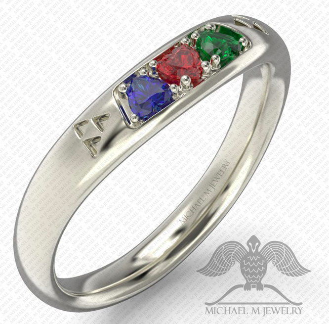 Spiritual Stones 3 Hearts Zelda Wedding Band Ring Green Blue Red Custommade Handmade Made To Order 104