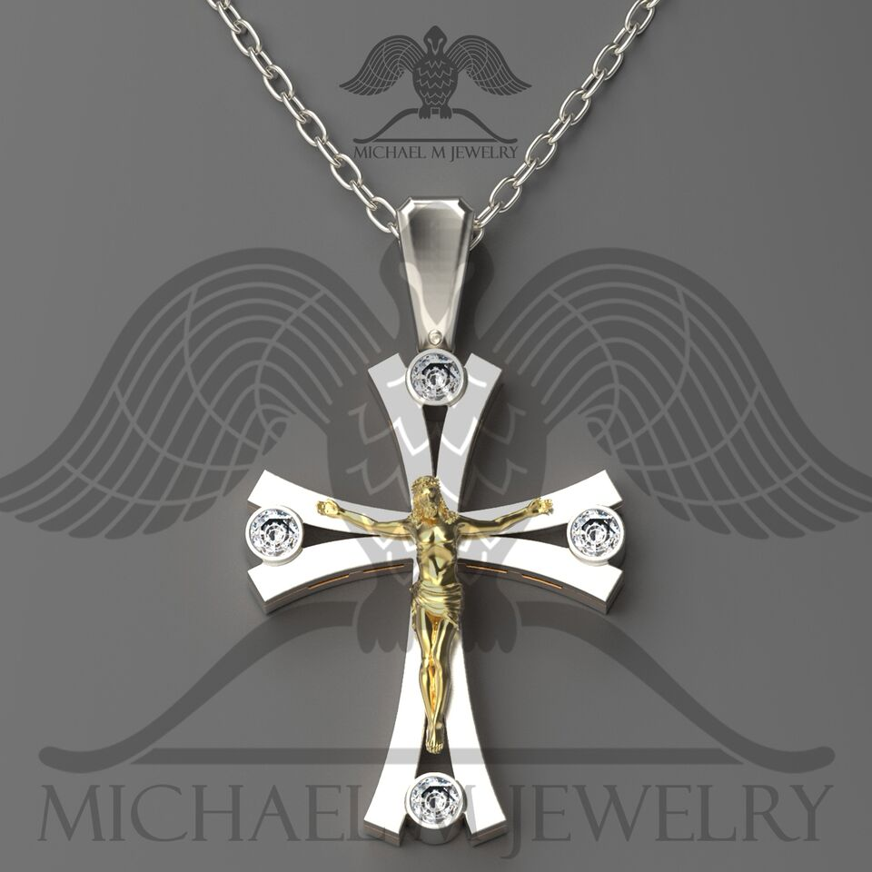 Michael m jewelry two tone 925 and 14k yellow gold cross crucifix michael m jewelry audiocablefo