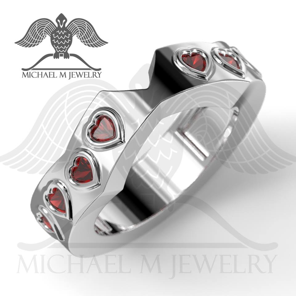 059 custommade handmade ***Made to Order Double heart container matching band