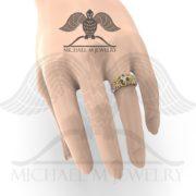 Zelda Zora Ring displayed on model hand by Michael M Jewelry