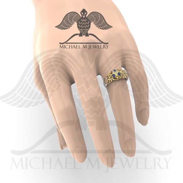 Zelda Zora Ring displayed on model hand by Michael M Jewelry