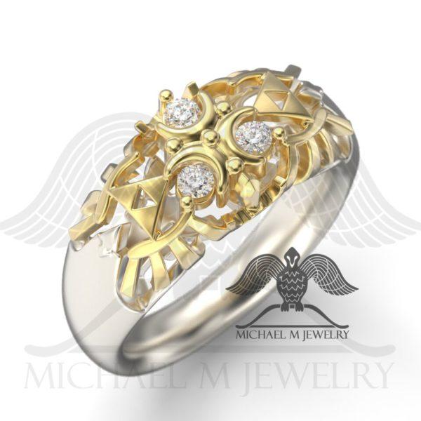 Zelda Zora White Stone Ring - Two Tone | Michael M Jewelry