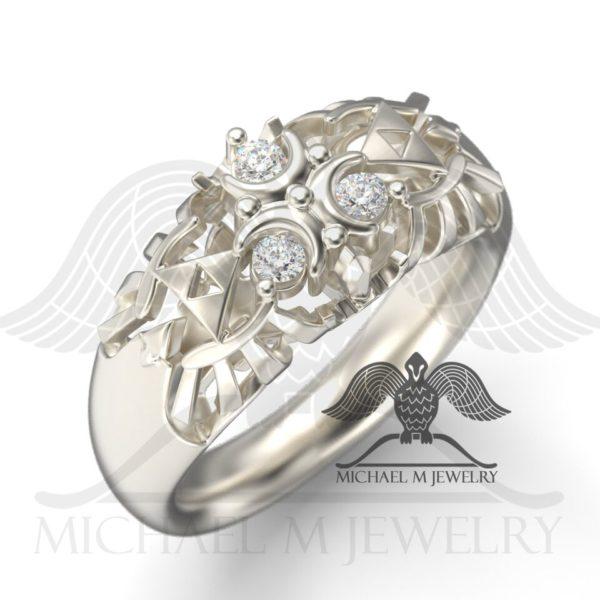 Zelda Zora White Stone Ring - One Tone by Michael M Jewelry