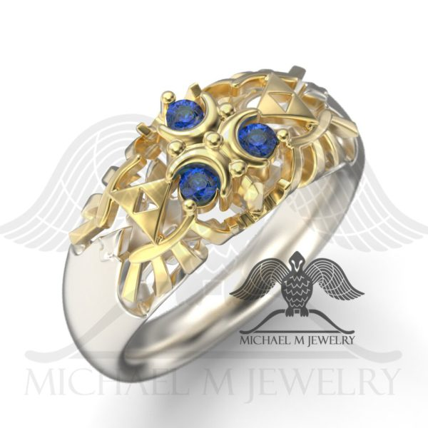 Zelda Zora Blue Sapphire Ring - Two Tone by Michael M Jewelry