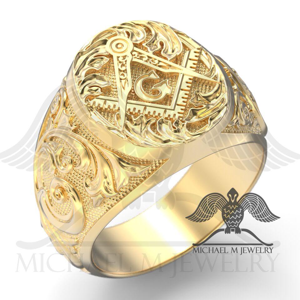 Masonic Mason Ring in 14K Yellow Gold custommade handmade Made to