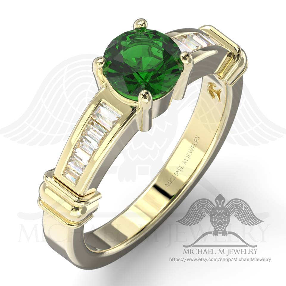 Emerald Baguette Engagement Ring 14k Yellow Gold, Custommade, Handmade *** Made To Order – 112