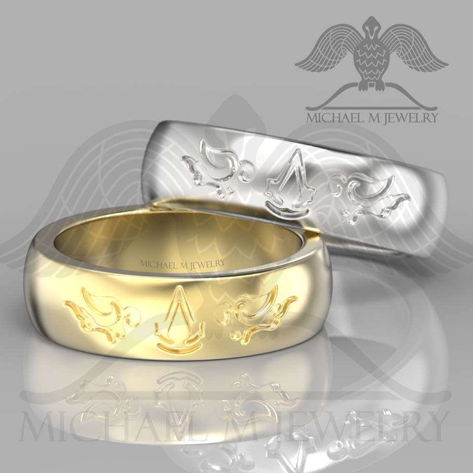 MENS ASSASSINS CREED 14K YELLOW GOLD WEDDING BAND CUSTOMMADE HANDMADE MADE TO ORDER 134