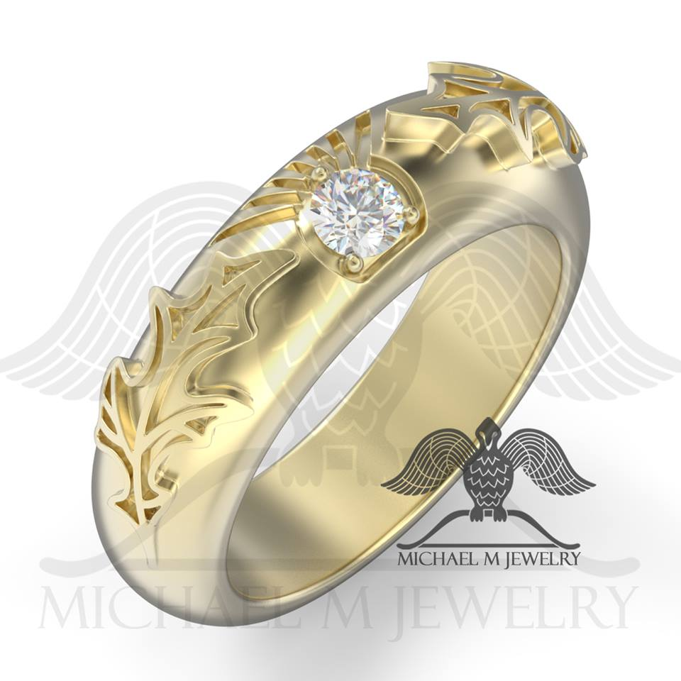 Thistle wedding band with stone 14k Yellow Gold custommade handmade