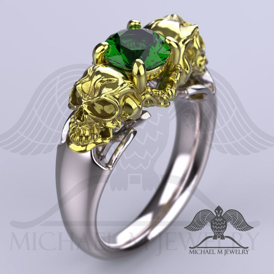 carat halo on white gold rings green ring three stone emerald diamond engagement cut