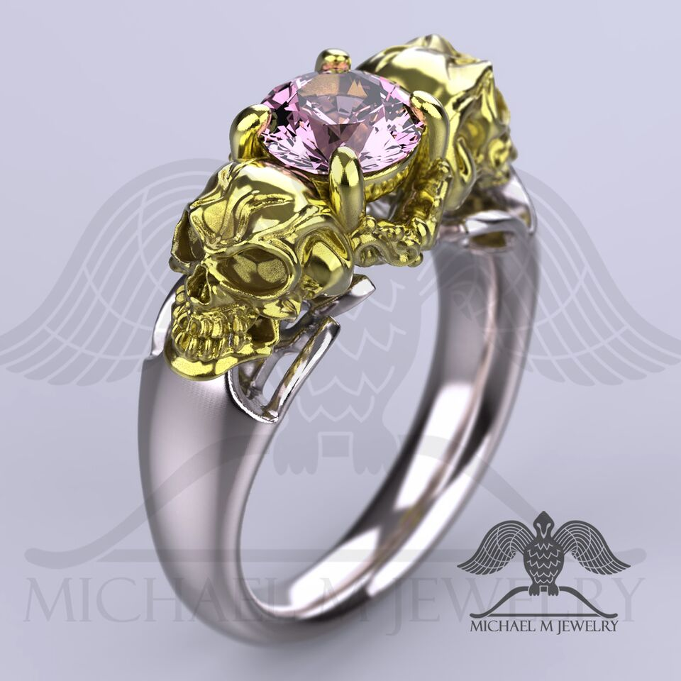 pink rings sapphire cushion with and product morganite stone halo three ring