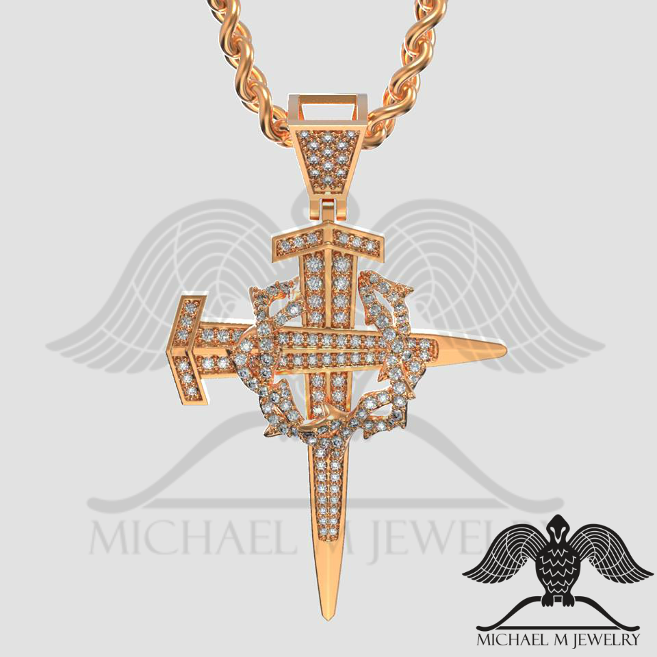 eaae020663c 14k Rose Gold Nail Cross with wreath – #220 – Michael M Jewelry